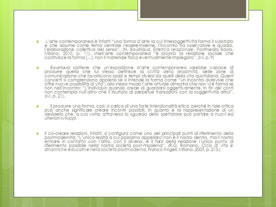 L'arte contemporanea è infatti una forma d'arte la cui intersoggettività forma il substrato e che assume come tema centrale l'essere-insieme, l'incontro tra osservatore e quadro, l'elaborazione collettiva del senso . (N. Bourriaud, Estetica relazionale, Postmedia Books, Milano, 2010, p. 11). «Nell'arte contemporanea è proprio la relazione sociale che costituisce la forma […], non il materiale fisico eventualmente impiegato . (Ivi, p. 9)